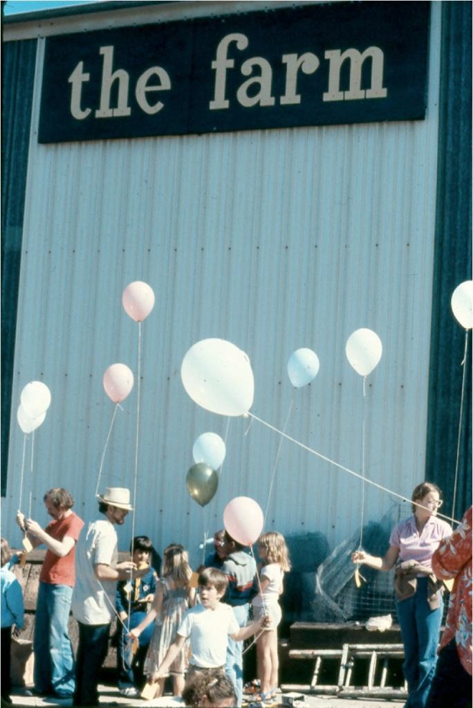 Scene from Crossroads Community (the farm) - Community Celebration © 1976 Bonnie Ora Sherk