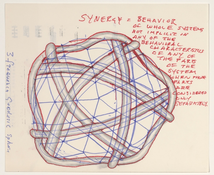 Synergy model. From Buckminster Fullers sketchbook. Courtesy The Estate of R Buckminster Fuller