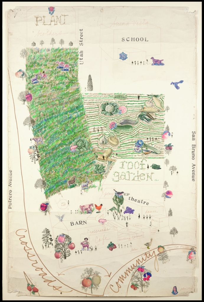 Original Proposal For Crossroads Community (the farm) Drawing and Collage © 1974 Bonnie Ora Sherk