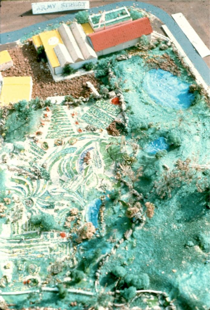 Model of Crossroads Community (the farm) © 1976 Bonnie Ora Sherk