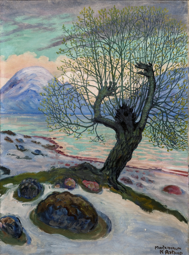 Nikolai Astrup, Marsmorgen, ca. 1920 Olje på lerret 65x46,5cm Dette verket er deponert i Bergen Kunstmuseum